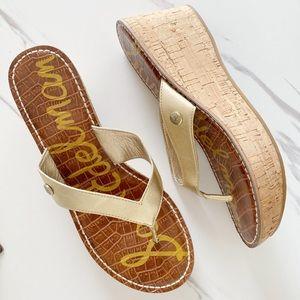 Sam Edelman Romy Gold Cork Sandals